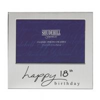 Happy Birthday Satin Silver Plated Photo Frame 18th